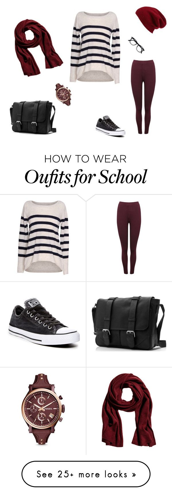 """""""Black and white and red all over"""" by barcelosknows on Polyvore featuring M&Co, Velvet by Graham & Spencer, Converse, FOSSIL and Halogen"""