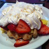 The Waffle Hut - Pineapple and strawberry waffles!  Amazing! - Klamath Falls, OR, United States