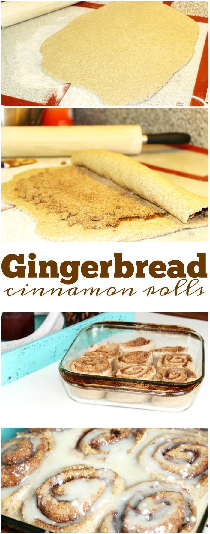 Gingerbread cinnamon rolls are amazing on Christmas morning! There's nothing like homemade cinnamon rolls and adding gingerbread is so tasty. via /thetypicalmom/