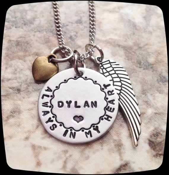 Memorial Necklace Always In My Heart Mom Dad Husband