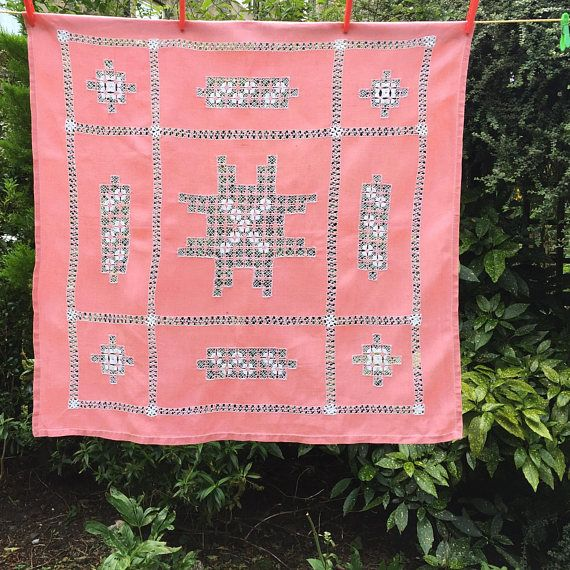 Vintage pink tablecloth, beautiful linen tablecloth with cut work embroidery, vintage cutwork embroidery tablecloth. This is in a lovely shade of pink and in an excellent condition. It measures 90 cm by 92.5 cm, to fit a square table, you could layer this over another cloth - it looks so