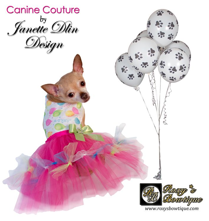 Birthday Girl Dress Birthday dress for your playful girl! This cute dress features a balloon print and tulle skirt. Exclusively from Roxy's Bowtique. #DogClothes#DogAccessories