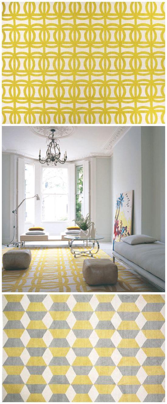 Geometry House Rugs geometric Yellow Grey Design Decor Interior Decoration Style Home Designer blog contemporary suzanne sharp tibetan wool nepalese