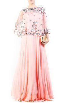 Pinkish Peach Cape Gown by Anju Agarwal, Western Gowns #ethnic #festive #indowestern #fusion #indian #eveningwear #cape #pastel #embroidery