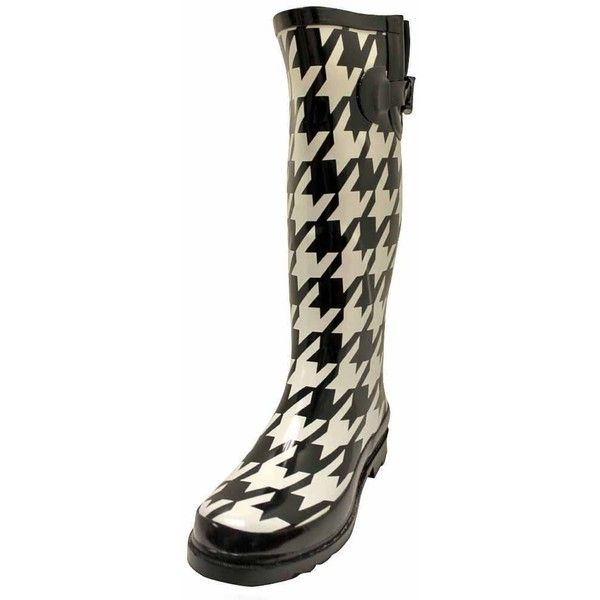 Black & White Houndstooth Rubber Rain Boots ($40) ❤ liked on Polyvore featuring shoes, boots, white and black boots, round toe boots, wellington boots, rubber shoes and houndstooth boots