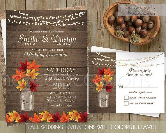 Rustic Fall Wedding Invitation Rustic Autumn Wedding Invitation Mason Jar Wedding Fall Leaves