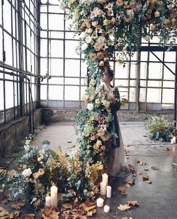Romantic autumnal floral arch