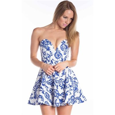 Kennedy Blue Print Dress By Showpo