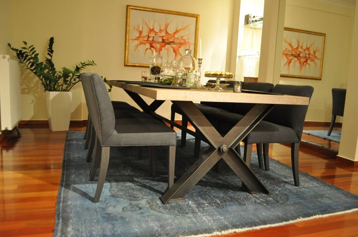 Custom made dining table, solid iron base, solid wood oak, indystrial, Greek interior design