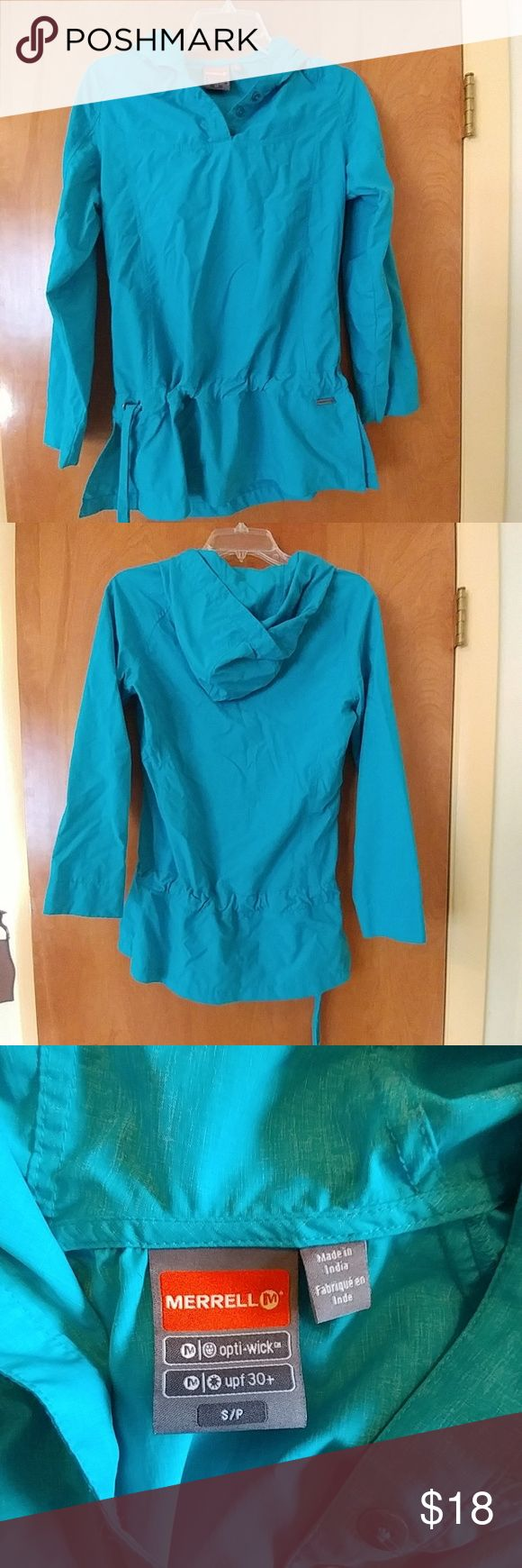 Merrell light pull-over hoodie w/UPF 30 Super lightweight spring jacket with hood and drawstring waist. Has UPF 30+ and wicking properties, so it makes a great river or hiking shirt. Longer length, looks cute with leggings. Color is kind of teal heather. Merrell Jackets & Coats