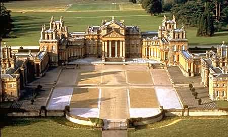 Blenheim Palace England..The palace's construction was originally intended to be a gift to John Churchill, 1st Duke of Marlborough from a grateful nation in return for military triumph against the French and Bavarians at the Battle of Blenheim. However, it soon became the subject of political infighting, which led to Marlborough's exile, the fall from power of his duchess, and irreparable damage to the reputation of the architect Sir John Vanbrugh. Designed in the rare, and s