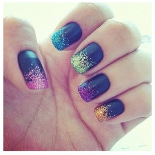 De 28 bsta ombr bilderna p pinterest this is a kind of ambre type of nail design you will need matte black nail polish different colored glitters a makeup sponge apply matte to prinsesfo Images