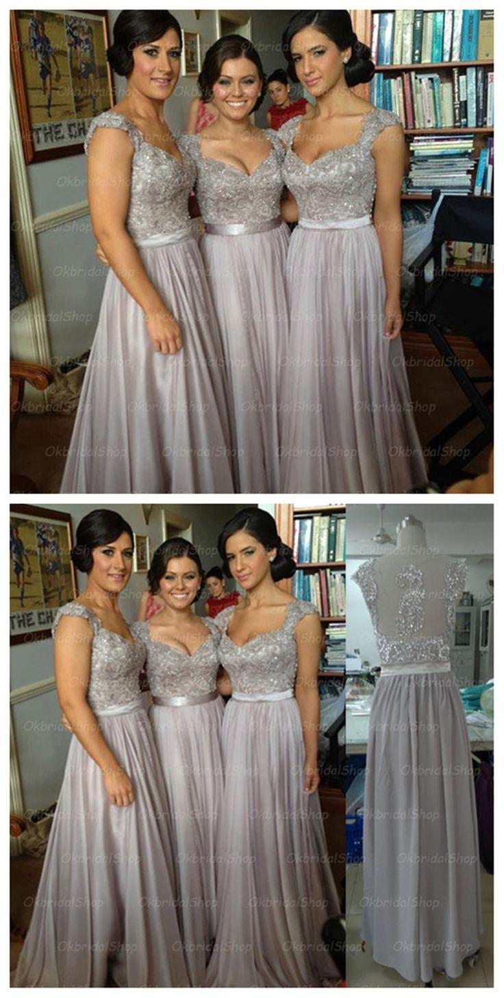 cap sleeve bridesmaid dresses, lace bridesmaid dress, grey prom dress, dresses for wedding, chiffon bridesmaid dresses, 16189