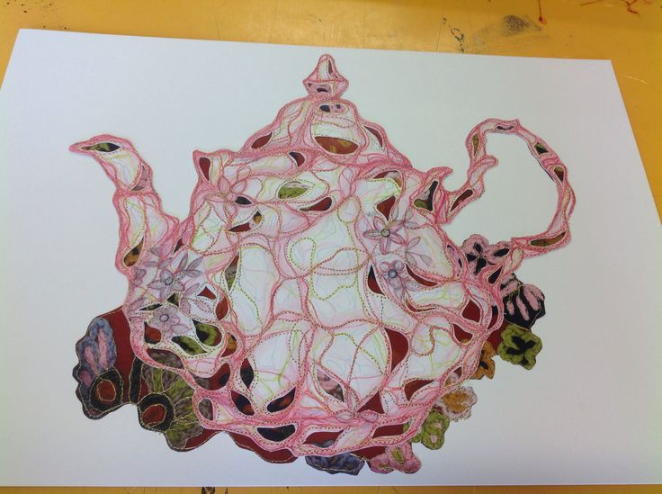 Collaged & machine embroidered heirloom teapot