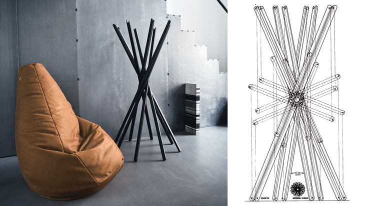 Zanotta's Sacco chair and Sciangai coat hanger. Available at Showroom MOOD, Warsaw.