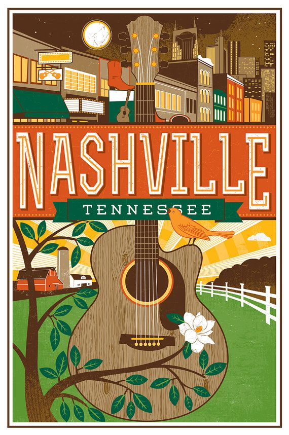 Nashville Travel poster Guitar by LucieRicePrints on Etsy