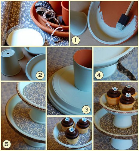 Clay flower pots, glued and painted to make cake/cupcake/dessert stands.  Love it! <3