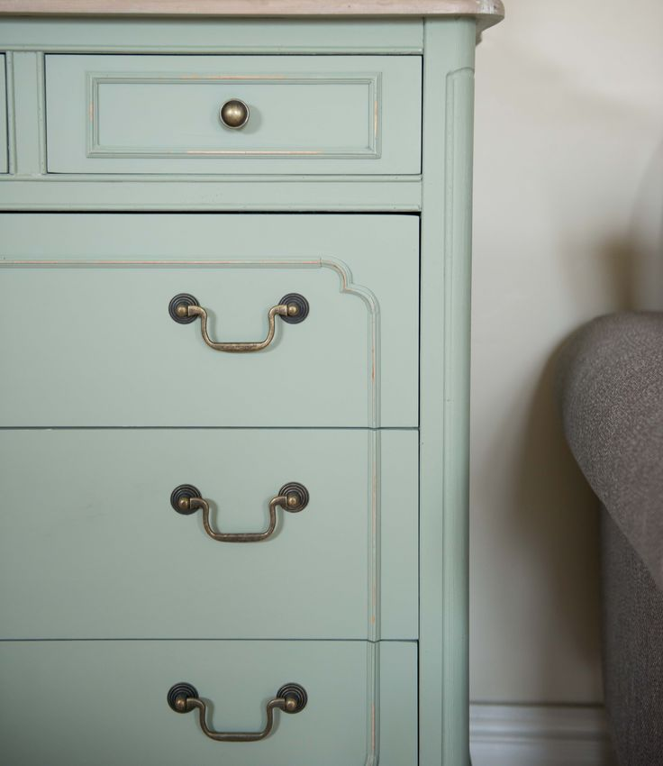 farrow and ball green painted chest of drawers.