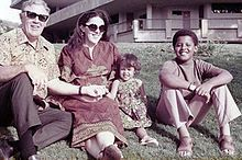 Barack Obama...with his mom, half-sister and grandfather.  Quote:  Even when folks are hitting you over the head, you can't stop marching. Even when they're turning the hoses on you, you can't stop.