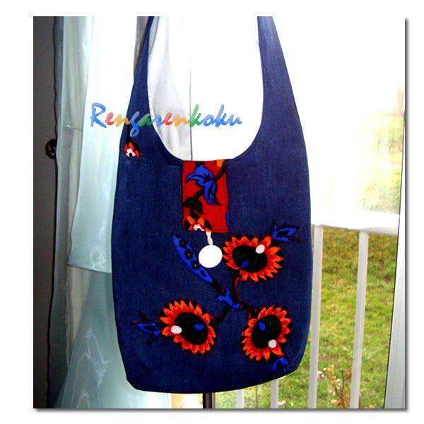 Rengarenkoku: kot çanta.tamamen tasarım el işi özel üretim