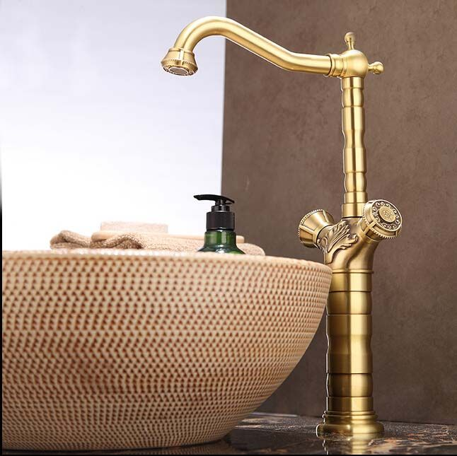 Newly Fashion Dual Handles Tall Antique Brass  Basin Shower Faucet Solid Brass Mixer Tap Faucet  Deck Mounted #Affiliate