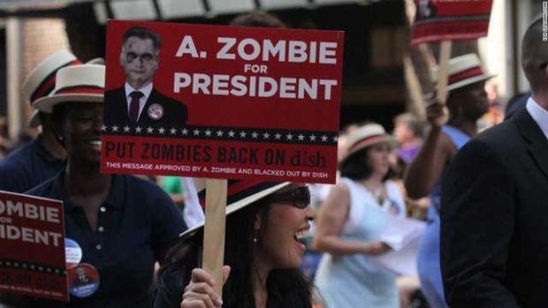 Zombie sign (is it just me or does the zombie on this sign look like Mit Romney?) Pentagon lays out zombie battle plan - Planners created attack by walking dead to plan for large-scale operations...  UPDATED 6:15 AM PDT May 16, 2014   Read more: http://www.kcra.com/politics/Pentagon-document-lays-out-zombie-battle-plan/26012522#ixzz321W85e5T