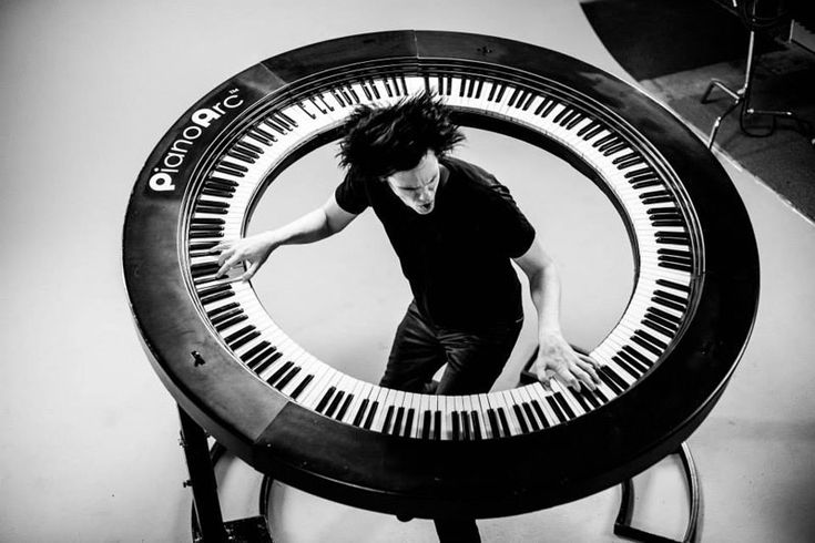 "WHOA! Lady Gaga's keyboard player, Brockett Parsons, built an incredible 360 degree keyboard, featuring 294 keys. Learn more with ""Twisted Sifter""."