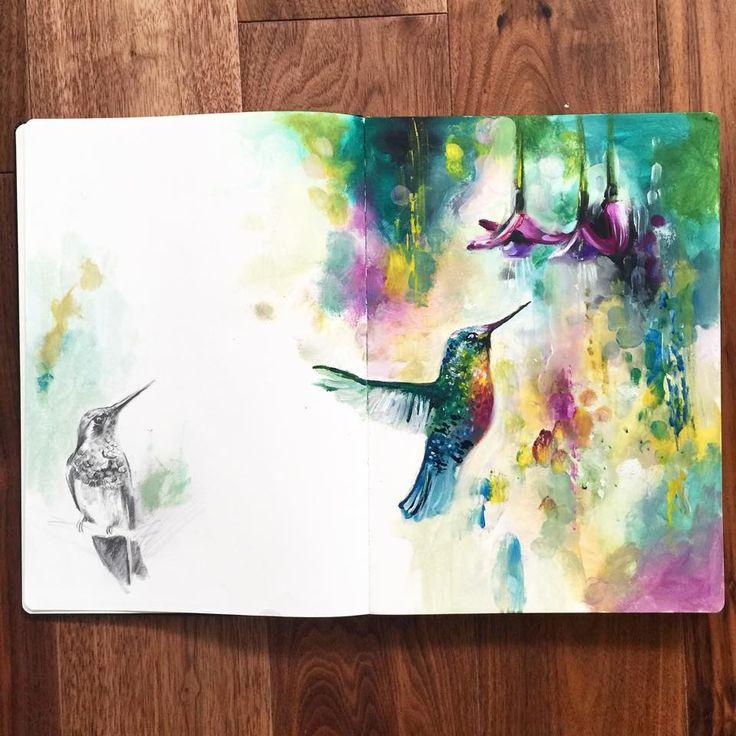 Katy Jade Dobson Art - Hummingbird oil sketch