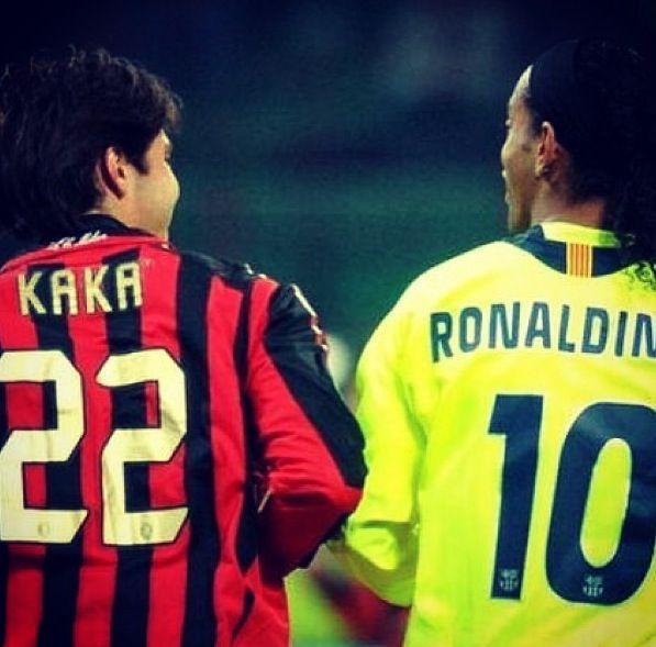 ronaldinho and kaka two great stars of European football barcelona ay one in the other in brazil