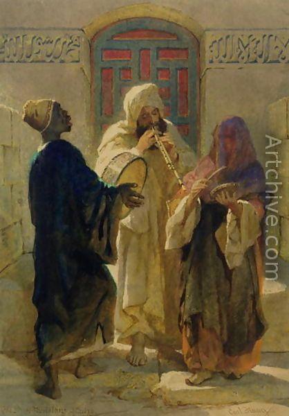 Street musicians in Cairo. Mid 1800s. Artist Carl Haag.