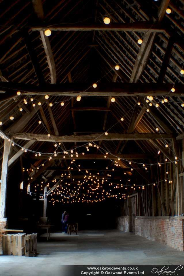 Random festoon loops at North Hidden Farm, wedding lighting by Oakwood Events