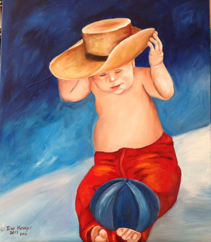 Whats this on my head? Oil painting- Ina Kruger