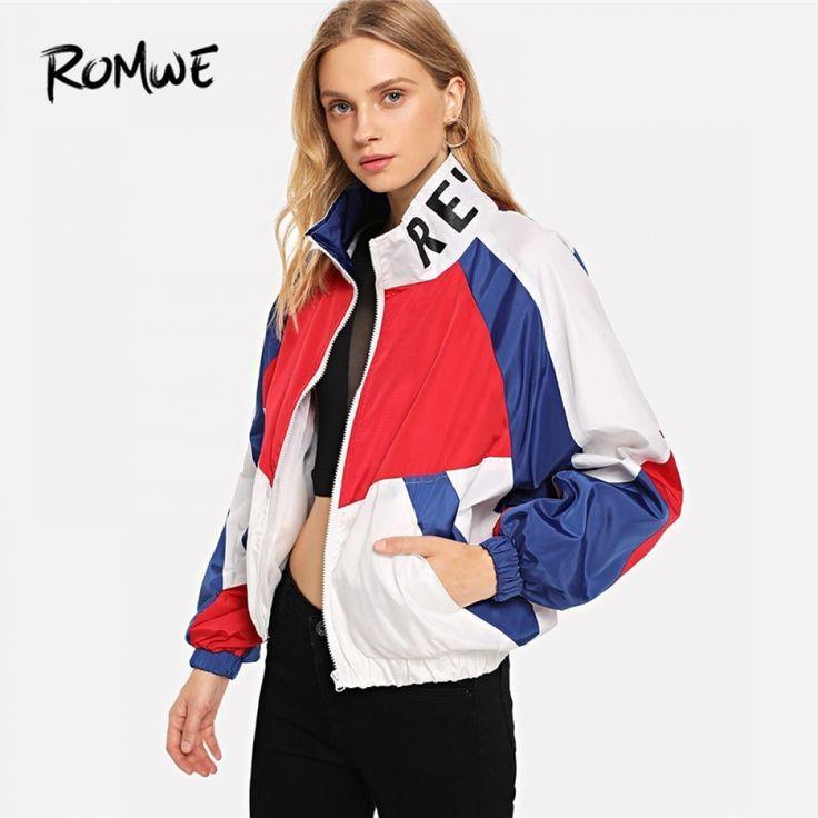 ROMWE para bloque de Color carta chaqueta 2019 mujeres Casual primavera otoño C…
