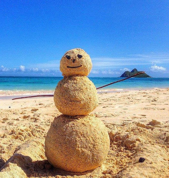 "This is the kind of ""snowman"" I would enjoy building! Nothing like a December on the North Shore of Oahu, Hawaii"