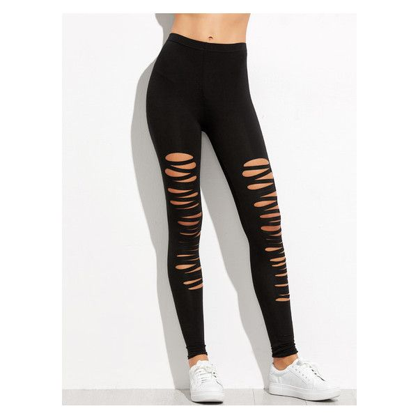 Black Ripped Skinny Leggings ❤ liked on Polyvore featuring pants, leggings, skinny trousers, torn pants, legging pants, skinny fit pants and super skinny pants