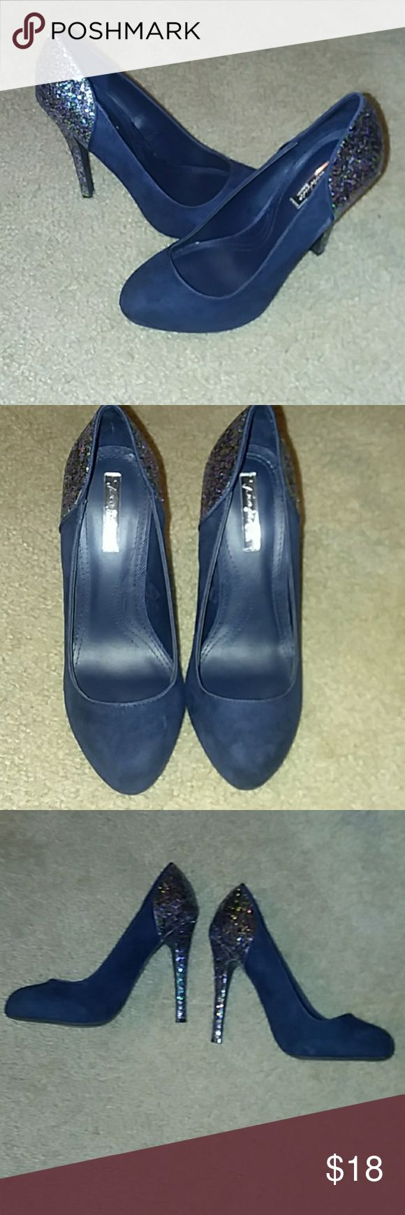 Zara Size 6 (36 UK) Navy blue suede pumps with multi colored (gold, baby pink, green and blue) glitter above heels. Worn once, no flaws and look brand new! Zara Shoes Heels