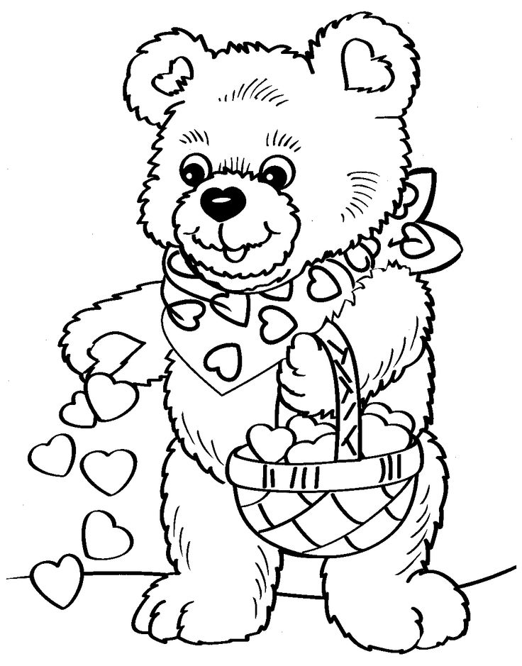 Print coloring page and book valentines day bear coloring page for kids of all ages