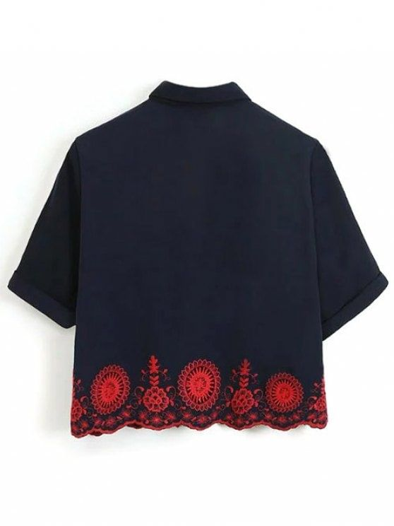 Embroidered Hollow Out Scalloped Shirt - PURPLISH BLUE M