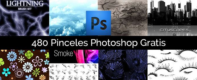 Descarga gratis Pack 480 pinceles para Photoshop (Brushes) con Árboles y ramas, humo, telas de araña, flores, rayos, pestañas, manchas, edificios, rotura, nubes