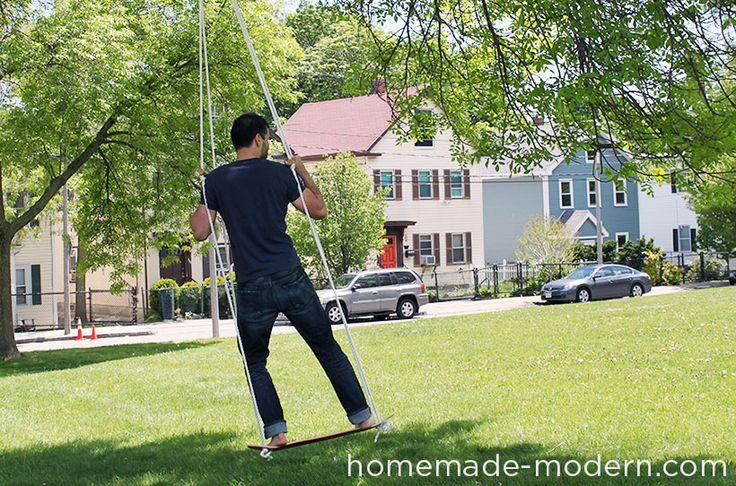 How to: Make a Skateboard Swing   Man Made DIY   Crafts for Men   Keywords: DIY, toy, skateboard, nostalgia