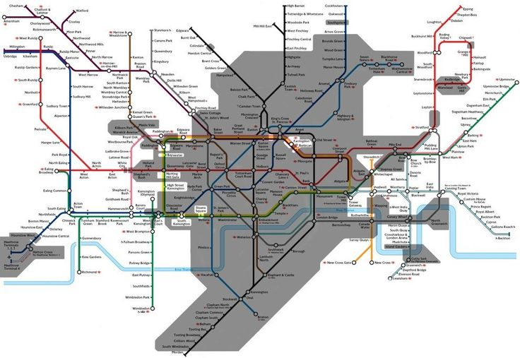 """This map showing the bits of the """"London Underground"""" that are, you know, underground.   18 Beautiful And Weird Maps That Will Change How You Think About London"""