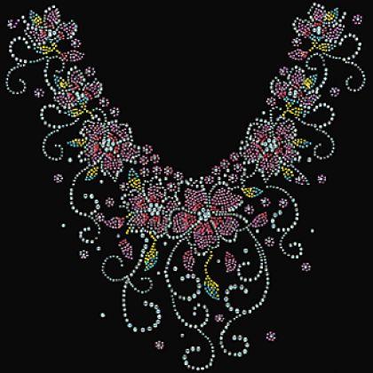 13x14 - FLORAL KOLYE LRG (TAŞLAR / STUDS) - çiçek, çiçek kolye, çiçekler, boyun bakımı, kolye, Rhinestones, Rhinestuds, üzüm, Yakalar, Materyal Transfer, Yakalar