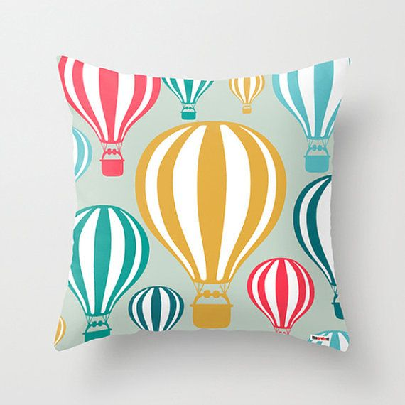 Balloon Decorative throw pillow cover  hot air by thegretest, $55.00