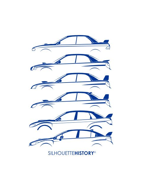 Six Stars SilhouetteHistory Silhouettes of the Subaru Impreza WRX generations. Six cars of four generations and two facelifted cars.