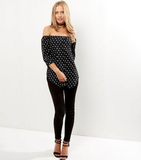 Influence Black Polka Dot Bardot Top | New Look