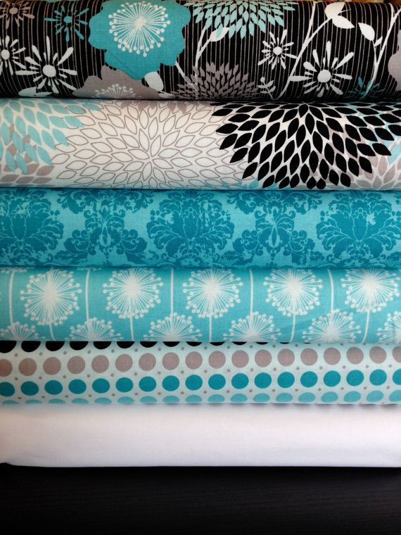 NEW Andrea Victoria by My Minds Eye and Riley Blake Designs Aqua FQ bundle 6 total