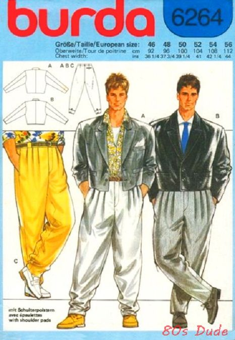 Yes, I do confess to having a suit with a bolero jacket and countless pleats on the trousers.
