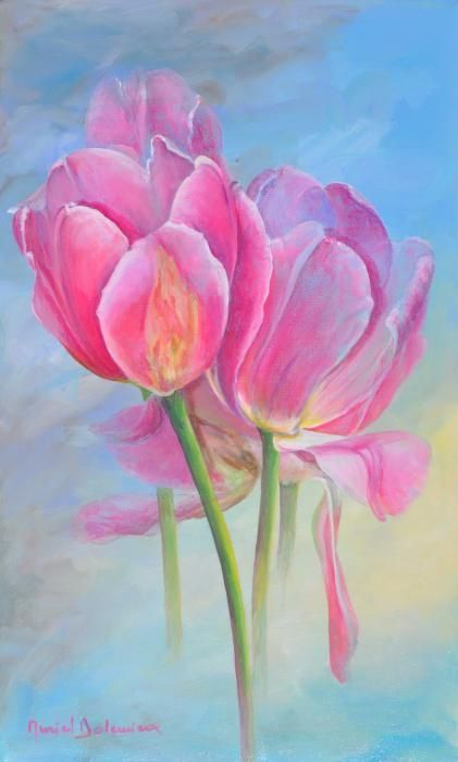 Tulipes New-Age Painting by Muriel Dolemieux - Tulipes New-Age Fine Art Prints…