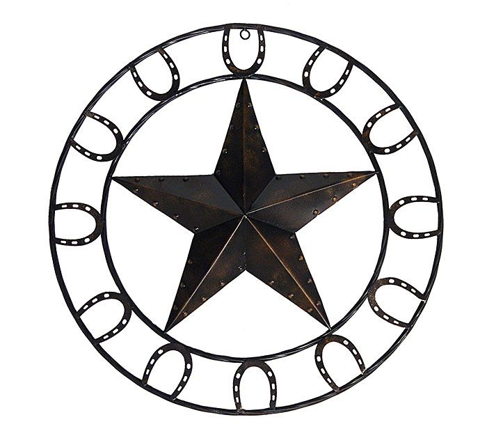 Decorate with this brown rustic metal barn star with ring of horse shoes to complete your Western style look! #western #rustic #burtonandburton
