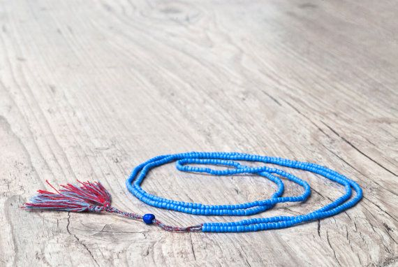 Mediterranean Blue Long Tassel Necklace Red by PiscesAndFishes